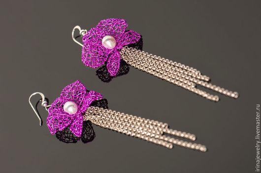 """Серьги ручной работы. Ярмарка Мастеров - ручная работа. Купить Серьги """"Orchid"""". Handmade. Фуксия, wire work, серьги цветы"""