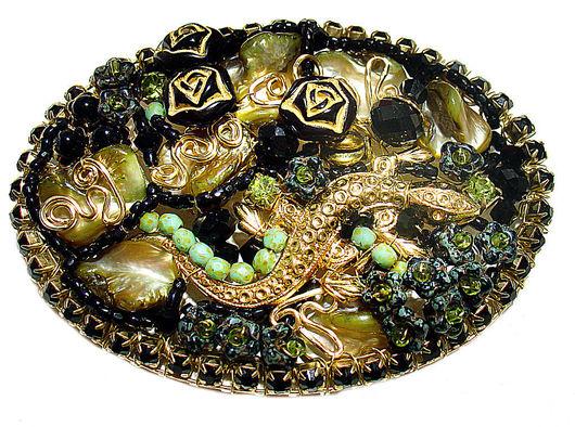 Brooches handmade. Livemaster - handmade. Buy Brooch ' Lizard dusk'.Olive, bronze, mother of pearl