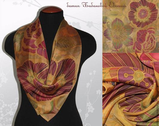 Шали, палантины ручной работы. Ярмарка Мастеров - ручная работа. Купить Шелковый шейный платок  - цветы на золотом, батик, ручная роспись. Handmade.