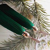 """Украшения ручной работы. Ярмарка Мастеров - ручная работа Серьги кисти """"Simple Green"""". Handmade."""