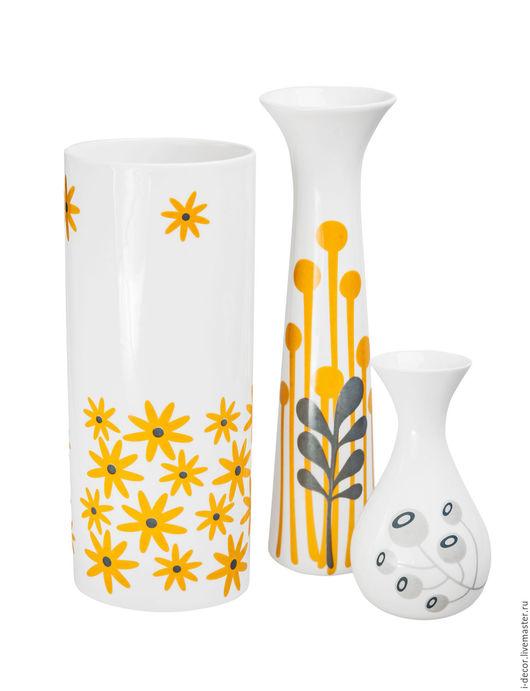 Фарфоровые вазы из коллекции Минимализм.Трио. Оригинальные вазы станут прекрасным подарком на свадьбу или новоселье. Подарок для дома, стильный подарок, фарфоровая посуда.