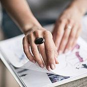 Серебряное кольцо с обсидианом - 25х18мм
