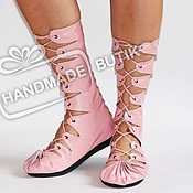 Обувь ручной работы manualidades. Livemaster - hecho a mano Altos mocasines de cuero suave y rosada de la piel. Handmade.