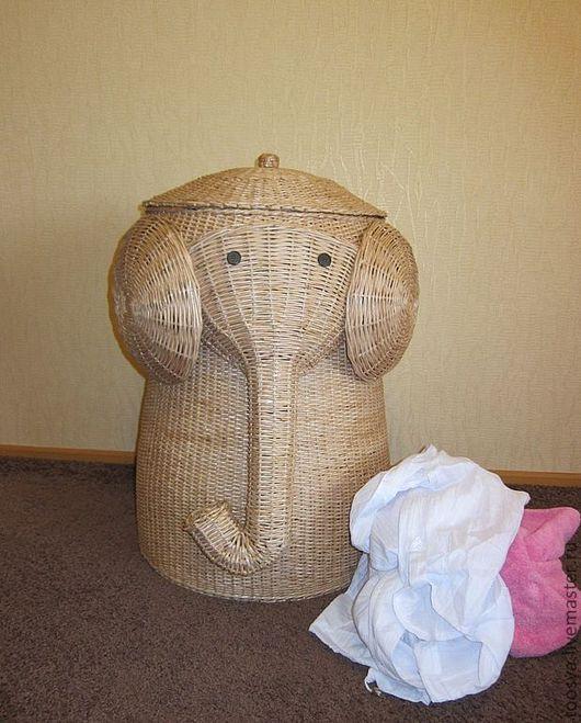 Корзины, коробы ручной работы. Ярмарка Мастеров - ручная работа. Купить плетеная корзина для белья Слон. Handmade. Бежевый