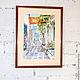 """Город ручной работы. Ярмарка Мастеров - ручная работа. Купить Акварель на бумаге. """"Греция"""". Handmade. Разноцветный, акварельные краски"""