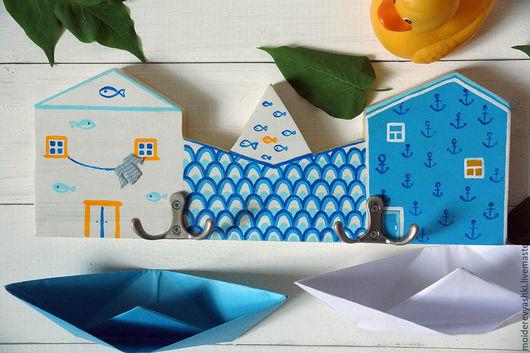 Ванная комната ручной работы. Ярмарка Мастеров - ручная работа. Купить вешалка крючки Морская. Handmade. Голубой, декор ванной