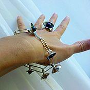 Украшения ручной работы. Ярмарка Мастеров - ручная работа Серебряные кольцо и браслет с черным жемчугом. Handmade.