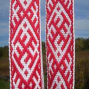 Русский стиль handmade. Livemaster - original item Slavic belt Ratiborets white-red. Handmade.