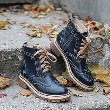Footwear handmade. Livemaster - original item Boots moccasin leather with uneven Dark blue. Handmade.