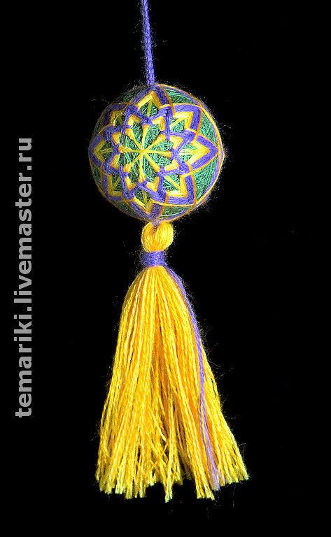 """Темари ручной работы. Ярмарка Мастеров - ручная работа. Купить Темари """"Хризантема"""". Handmade. Темари, вышивка, сувенир, брелок, зеленый"""