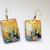 Украшения handmade. Livemaster - original item Earrings with Petersburg Painting Munk Creek Bank bridge sphinxes. Handmade.