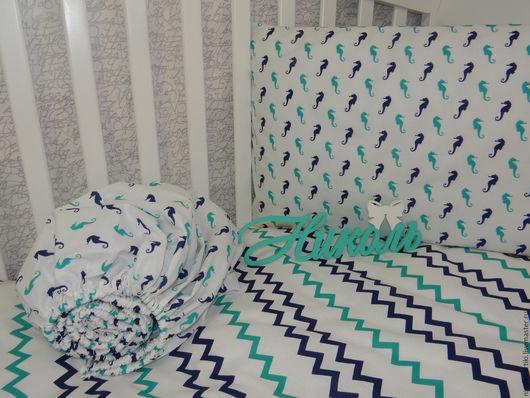 Детская ручной работы. Ярмарка Мастеров - ручная работа. Купить Комплект постельного белья в кроватку. Handmade. Комбинированный, постельный комплект