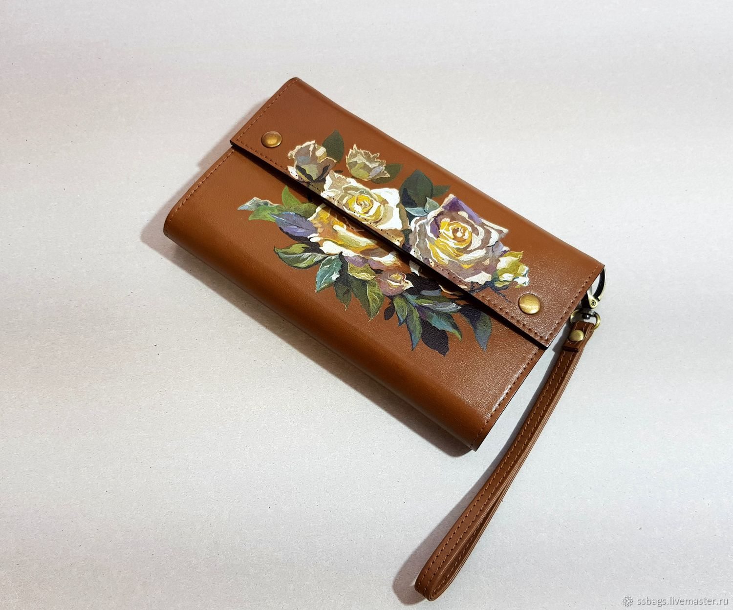 wallet womens leather. Clutch. Hand painted, Wallets, St. Petersburg,  Фото №1