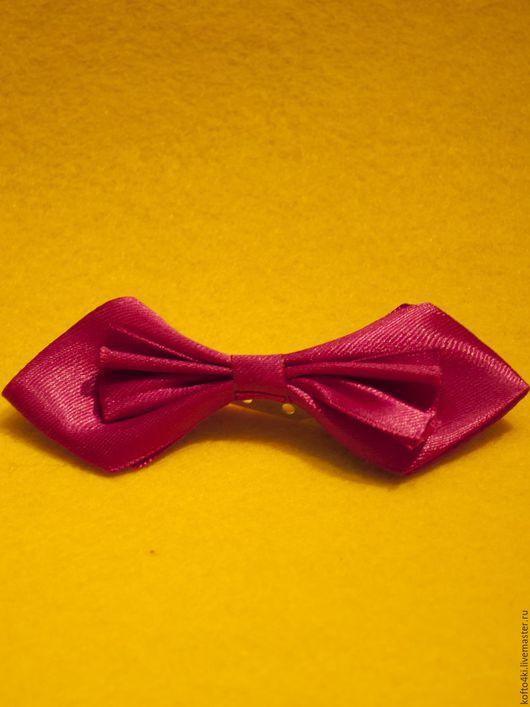 Галстуки, бабочки ручной работы. Ярмарка Мастеров - ручная работа. Купить Брошь галстук-бабочка атласная малиновая. Handmade. Брошь