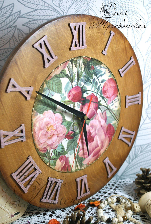 """Часы """"Розы в цвету"""". Декупаж, коричневый, розовый, зеленый, цветы, Часы классические, Оренбург,  Фото №1"""