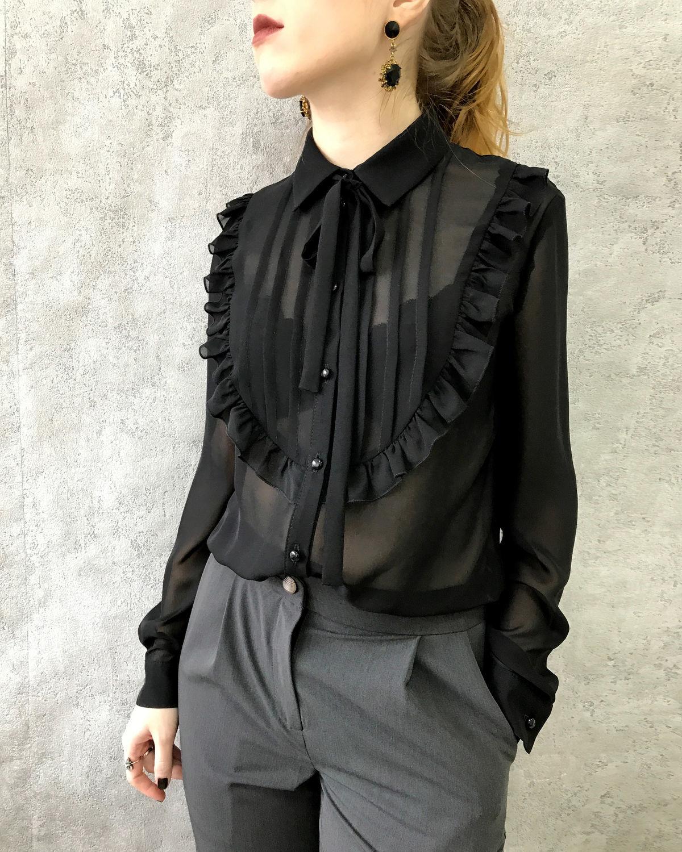 """Блузки ручной работы. Ярмарка Мастеров - ручная работа. Купить Черная блузка """"Vinograd"""". Handmade. Блузка, бдузка с длинным рукавом"""