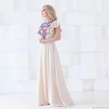 Одежда ручной работы. Ярмарка Мастеров - ручная работа Летнее платье в пол, бежевое платье. Handmade.