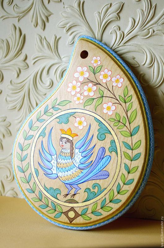 Капля весны и счастья. Птица Сирин. Ручная роспись. Народные традиции.
