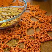 Для дома и интерьера ручной работы. Ярмарка Мастеров - ручная работа Комплект сервировочных вязаных салфеток оранж. Handmade.