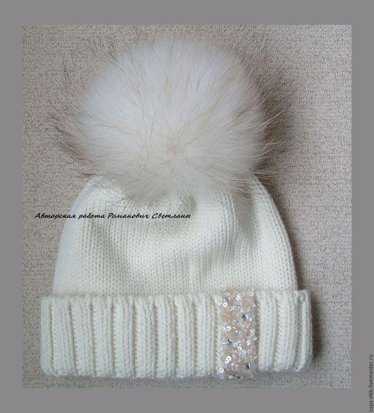 Шапки ручной работы. Ярмарка Мастеров - ручная работа. Купить Женская зимняя вязаная шапка с меховым помпоном. Handmade. Зима