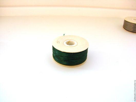 Вышивка ручной работы. Ярмарка Мастеров - ручная работа. Купить Нить Nymo для бисероплетения D Зелёная. Handmade. Сутаж