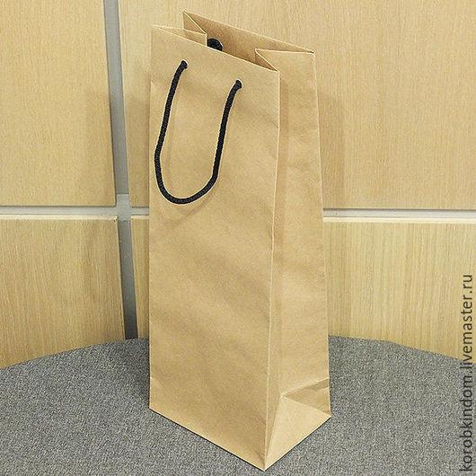 Упаковка ручной работы. Ярмарка Мастеров - ручная работа. Купить Пакет 14х36х10 см под бутылку крафт с ручками веревочными. Handmade.