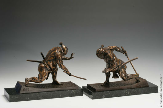 Статуэтки ручной работы. Ярмарка Мастеров - ручная работа. Купить Статуэтки Борцы сумо (скульптурная миниатюра из бронзы). Handmade. Бронза