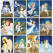 Открытки handmade. Livemaster - original item Angels postcards Set of 12 pieces. Handmade.