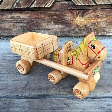 Куклы и игрушки ручной работы. Ярмарка Мастеров - ручная работа Лошадка с тележкой №14. Handmade.