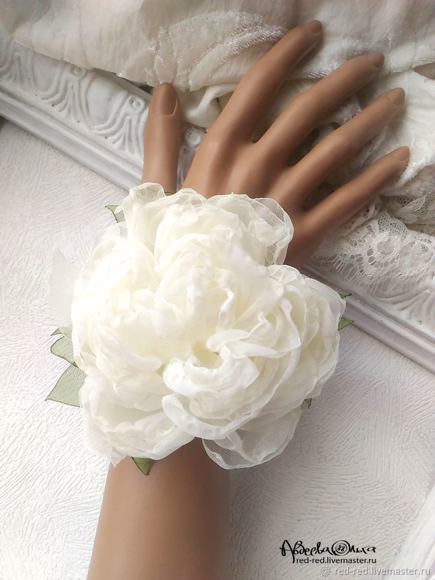 Bracelet With Fabric Flower White Peony Shop Online On Livemaster