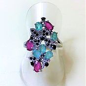 Украшения handmade. Livemaster - original item Ring with natural emeralds, rubies