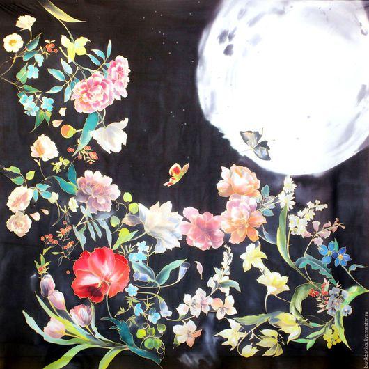 Шали, палантины ручной работы. Ярмарка Мастеров - ручная работа. Купить Шелковый платок батик Лунная соната. Handmade. Разноцветный