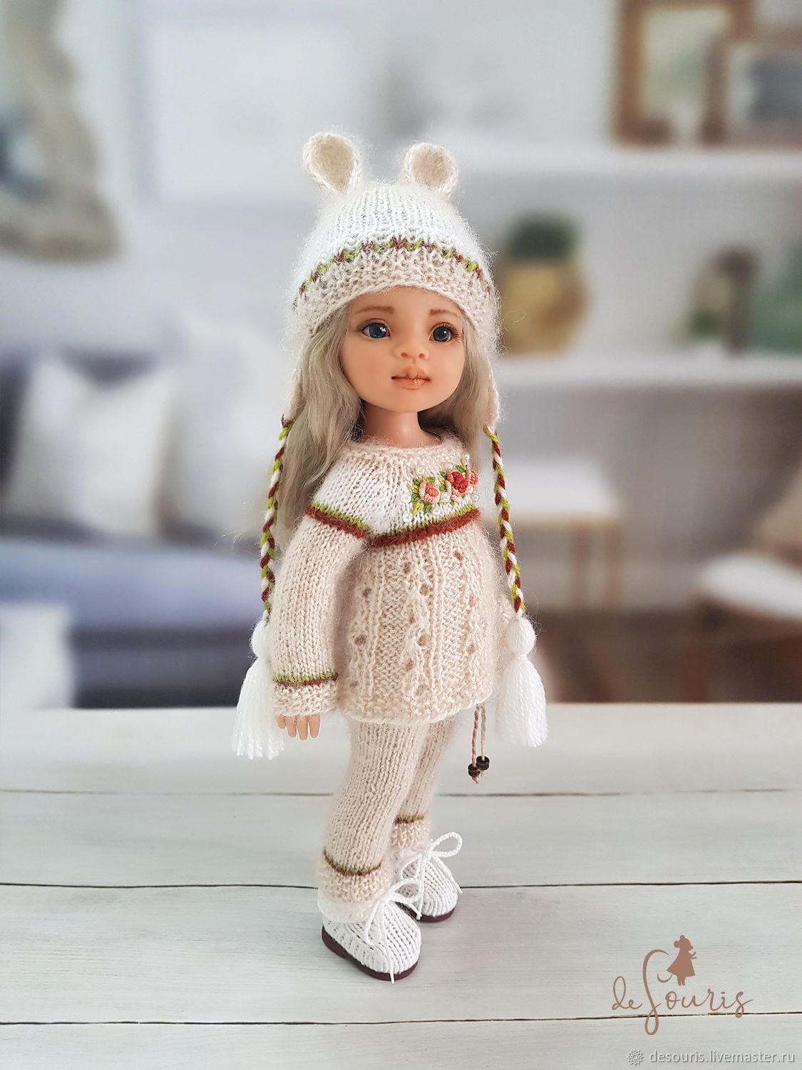 Clothes for Paola Reina dolls. Cream set with ears, Clothes for dolls, Voronezh,  Фото №1