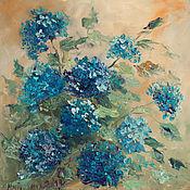 Картины и панно ручной работы. Ярмарка Мастеров - ручная работа Картина маслом. Синие гортензии. Handmade.