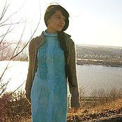 Одежда ручной работы. Ярмарка Мастеров - ручная работа Бирюзовое авторское войлочное платье. Handmade.