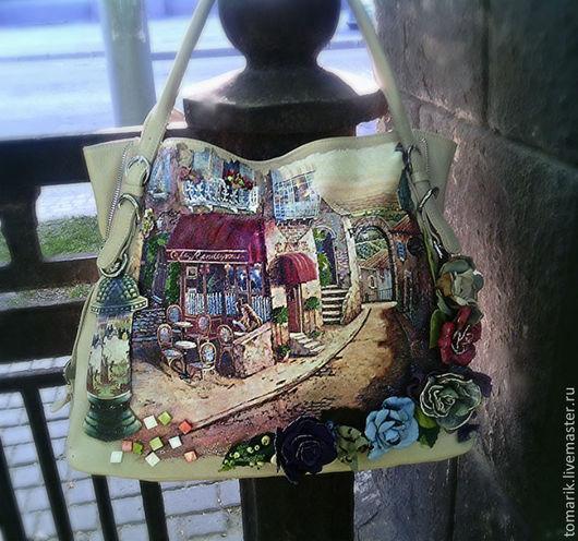 женская сумка ручной работы,кожаная сумка,женская кожаная сумка с декором, кожа натуральная , цветы из кожи