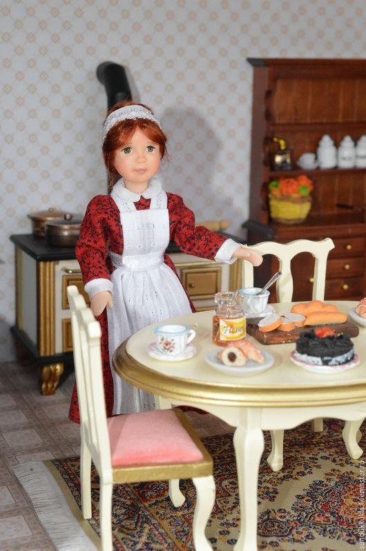 Коллекционные куклы ручной работы. Ярмарка Мастеров - ручная работа. Купить Кукла миниатюрная  подвижная Няня. Handmade. Авторская кукла