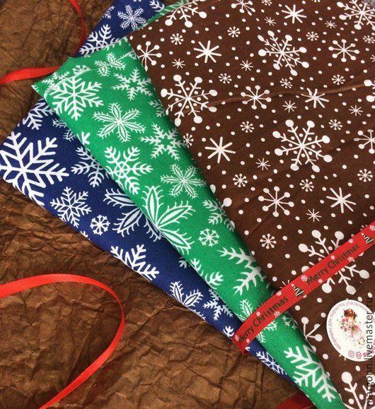 Шитье ручной работы. Ярмарка Мастеров - ручная работа. Купить Новогодний хлопок снежинки. Handmade. Хлопок, новогодняя ткань