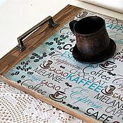 """Для дома и интерьера ручной работы. Ярмарка Мастеров - ручная работа Поднос """"Кофе в постель"""". Handmade."""