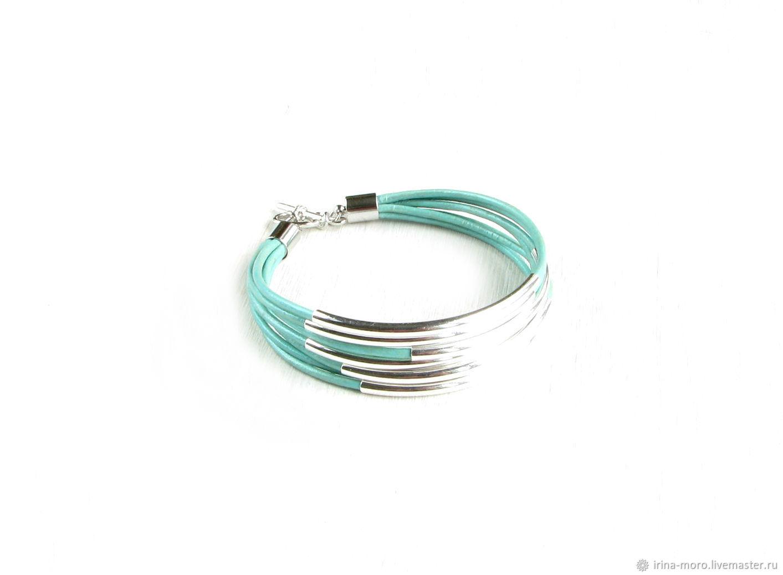 Mint bracelet 'Mint' turquoise bracelet, leather bracelet, Braided bracelet, Moscow,  Фото №1