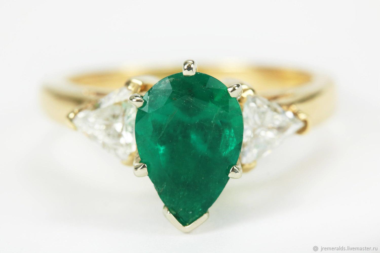 2.47tcw Colombian Emerald & Trillion Cut Diamond Engagement Ring 14k,, Rings, West Palm Beach,  Фото №1