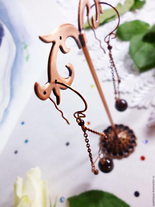 Серьги ручной работы. Ярмарка Мастеров - ручная работа. Купить СКИДКА 50%  Серьги с Гранатом «Княгиня» медные. Wire wrap. Handmade.