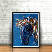 Картины и панно ручной работы. Ярмарка Мастеров - ручная работа ЯРКАЯ ЛОШАДКА - синяя картина с лошадью, импрессионизм. Handmade.