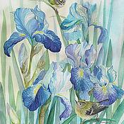 Картина акварелью с ирисами и птицами Корольки  в голубых ирисах