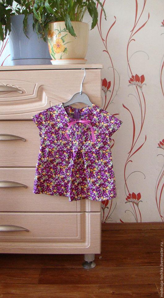 Одежда для девочек, ручной работы. Ярмарка Мастеров - ручная работа. Купить Фиолетовая туника для девочки. Handmade. Тёмно-фиолетовый
