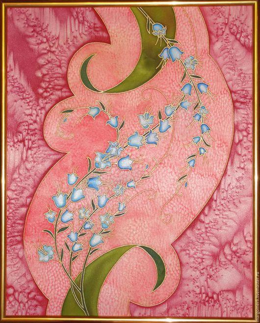 Картины цветов ручной работы. Ярмарка Мастеров - ручная работа. Купить Колокольчики. Handmade. Коралловый, Батик, атлас, цветы, колокольчики