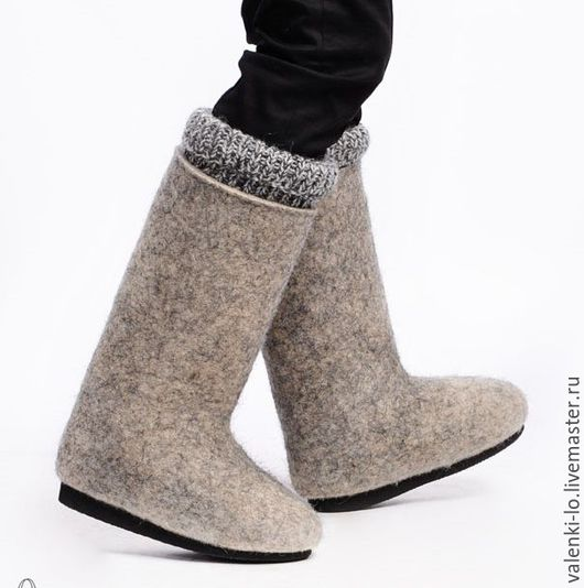 Обувь ручной работы. Ярмарка Мастеров - ручная работа. Купить Валенки мужские с манжетом на подошве.. Handmade. Серый, валенки для улицы