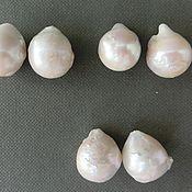Жемчуг пара 17 мм для серег белый барочный натуральный бусины