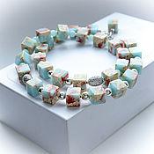 Украшения handmade. Livemaster - original item Necklace and earrings made of ocean Jasper, agate and hematite. Handmade.