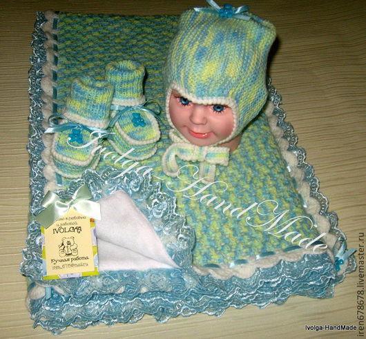 """Для новорожденных, ручной работы. Ярмарка Мастеров - ручная работа. Купить Комплект на выписку """" Бирюзовая сказка"""" (плед, шапочка и пинетки). Handmade."""
